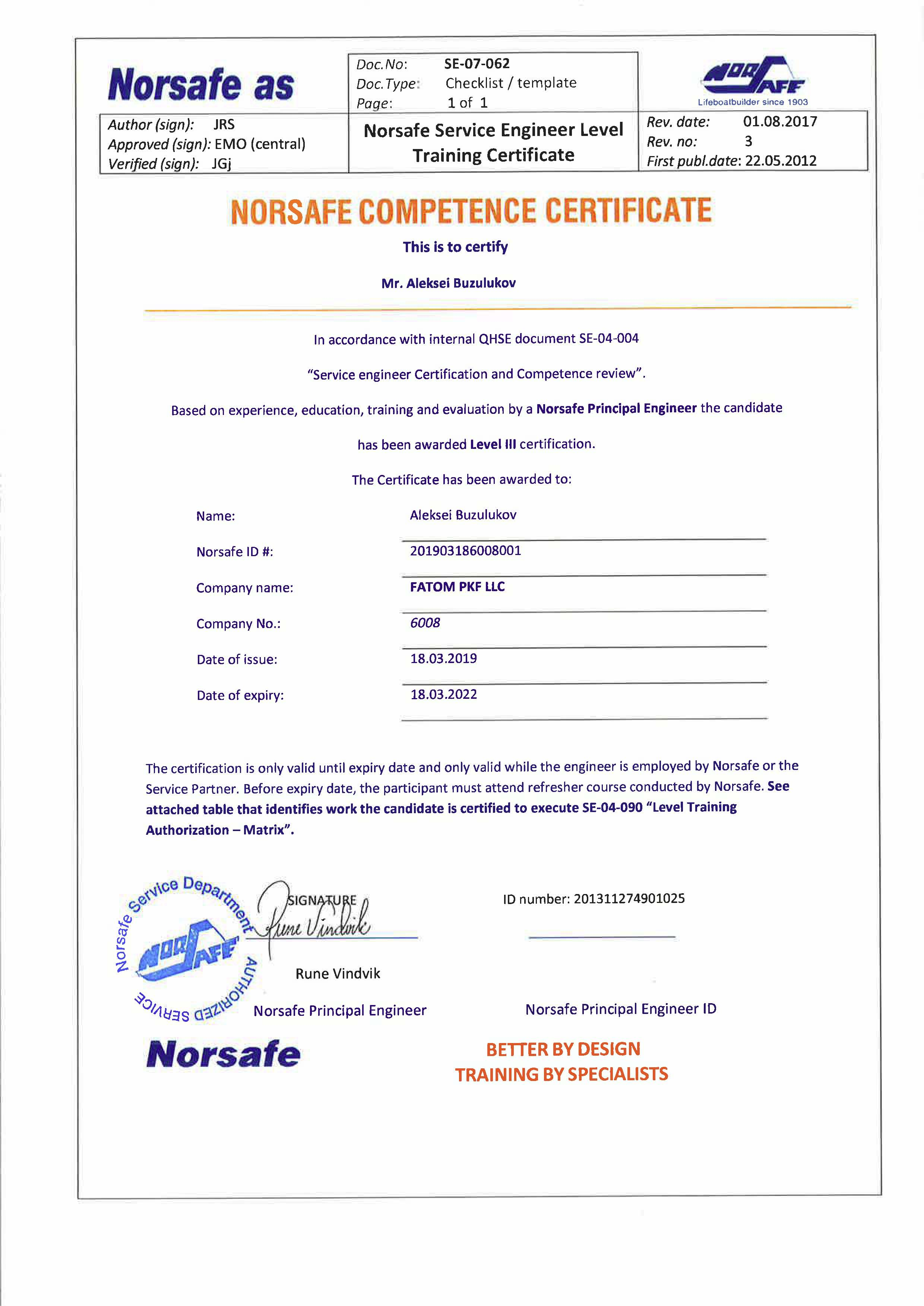 Norsafe Competence Certificate